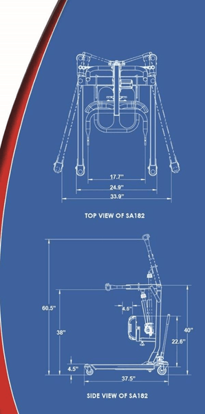 Blue Print - The BestStand ™ SA182H   SIT TO STAND HYDRAULIC LIFT by Best Care LLC   Wheelchair Liberty