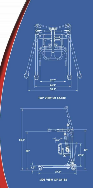 Blue Print - BestStand ™ SA182 | SIT TO STAND ELECTRIC LIFT  by Best Care LLC | Wheelchair Liberty