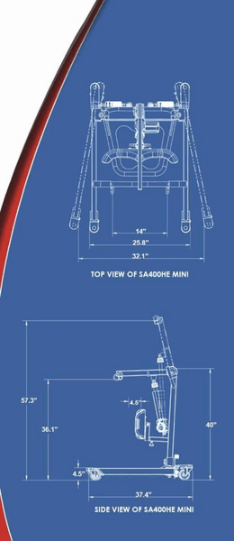 Blue Print - The BestStand ™ SA400H SA400HE | SIT TO STAND HYDRAULIC or ELECTRIC LIFT by Best Care LLC | Wheelchair Liberty