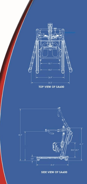 Blue Print - The BestStand ™ SA600 | SIT TO STAND ASSIST ELECTRIC LIFT by Best Care LLC | Wheelchair Liberty
