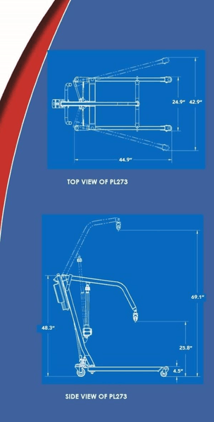 Blue Print - The BestLift™ PL273 | FULL BODY PATIENT ELECTRIC LIFT Best Care LLC | Wheelchair Liberty