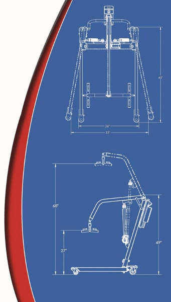 Blue Print - The BestLift™ PL400H| CONVERTIBLE HYDRAULIC PATIENT LIFT by Best Care LLC | Wheelchair Liberty
