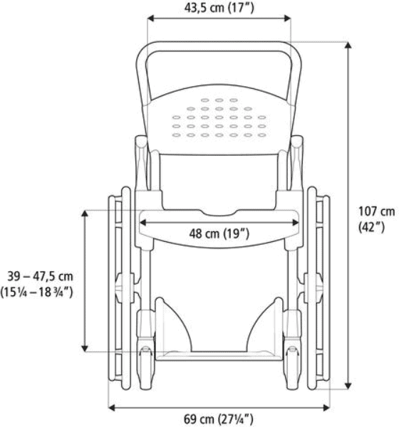 "CLEAN Self-Propelled Shower Commode Chair with 24"" Rear Wheels - Back Side Measurements"