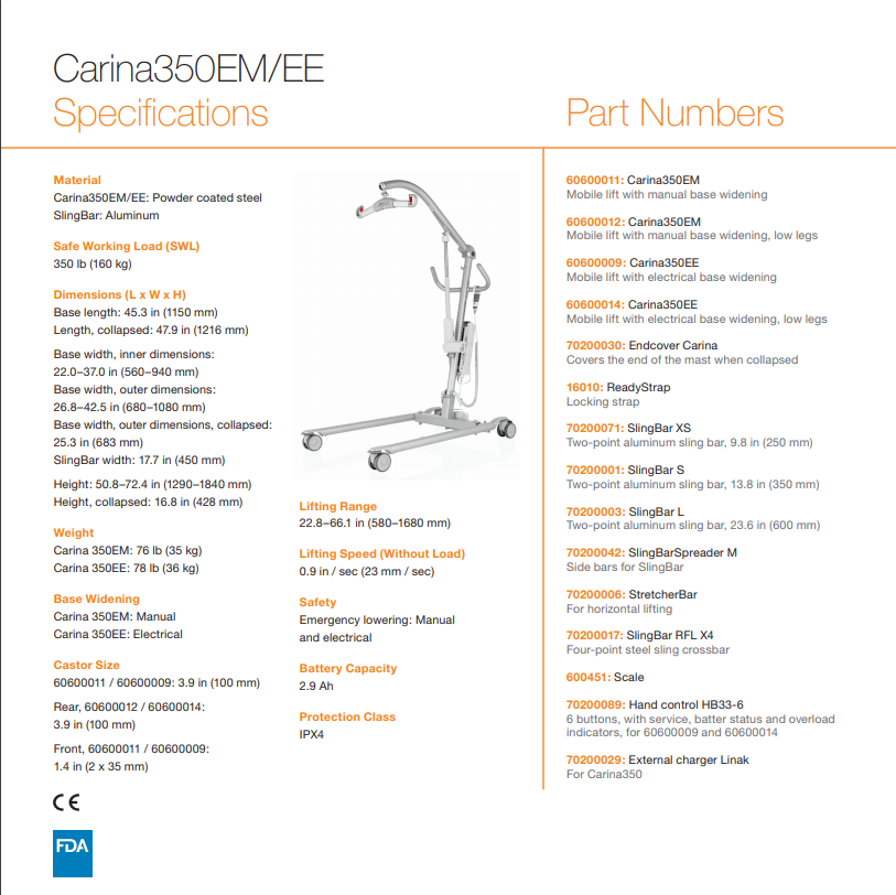 Specifications - Carina350 Mobile Patient Lifts By Handicare   Wheelchair Liberty