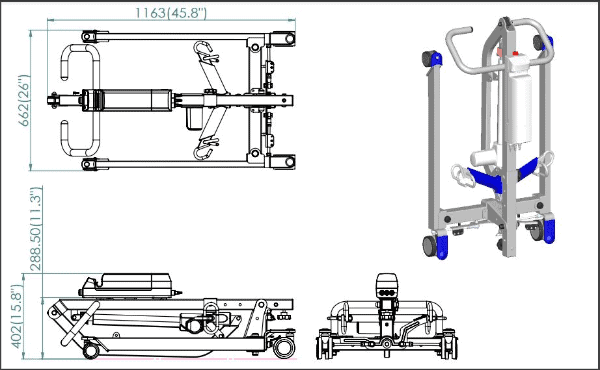 Dimensions - Protekt® Take-A-Long - Folding Electric Hydraulic Powered Patient Lift 400 lb by Proactive Medical | Wheelchair Liberty