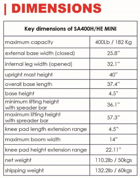 Dimensions - The BestStand ™ SA400H SA400HE | SIT TO STAND HYDRAULIC or ELECTRIC LIFT by Best Care LLC | Wheelchair Liberty