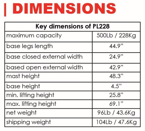 Dimensions - The BestLift™ PL228 | FULL BODY ELECTRIC PATIENT LIFT Best Care LLC | Wheelchair Liberty