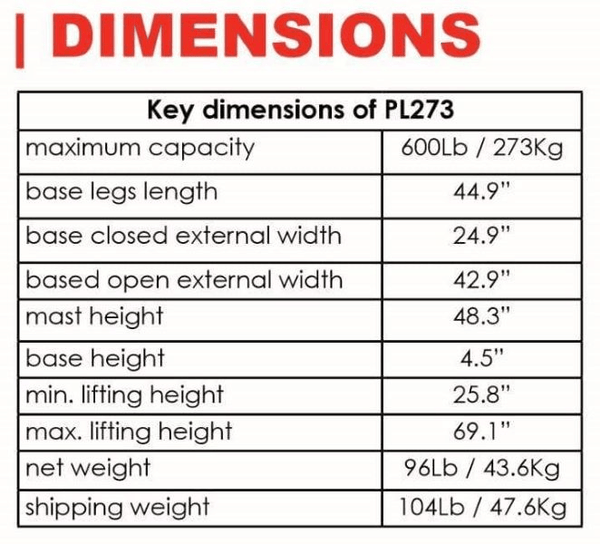 Dimensions - The BestLift™ PL273 | FULL BODY PATIENT ELECTRIC LIFT Best Care LLC | Wheelchair Liberty