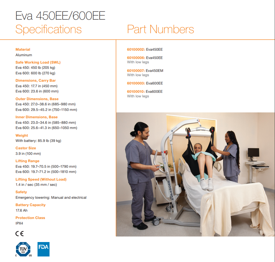 Specifications - Eva Floor Mobile Patient Lifts By Handicare | Wheelchair Liberty