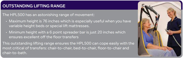 Effective Lifting Range of Hoyer HPL500 Mobile Patient Lift by Joerns - Wheelchair Liberty