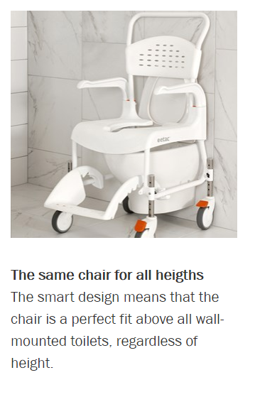 Features for CLEAN Height Adjustable Shower Commode Chair by Etac | Wheelchair Liberty