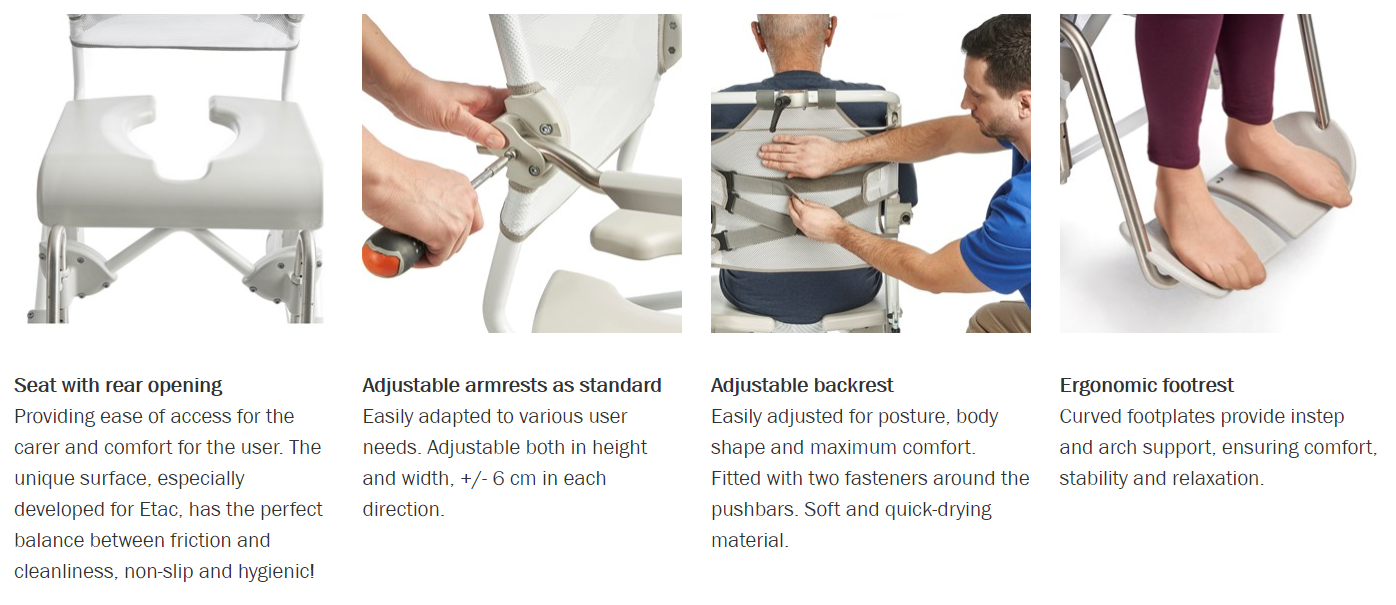 Features for Swift Mobil 2 Shower Commode Chair by Etac | Wheelchair Liberty