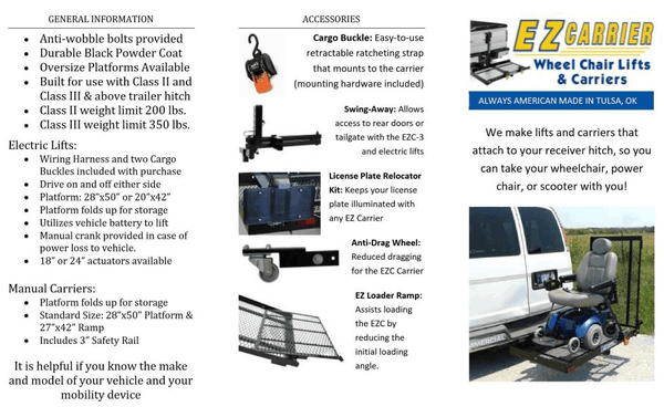 Features - Manual EZC Wheelchair and Scooter Vehicle Carrier for Class 2 and 3 by EZ-Carrier | Wheelchair Liberty