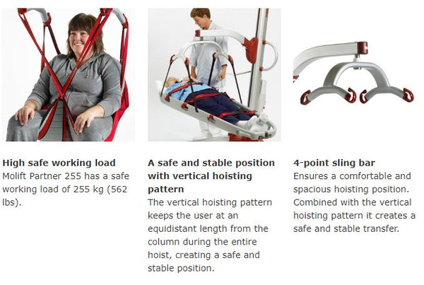 Features for Molift Partner 255 Patient Lift by ETAC from Wheelchair Liberty