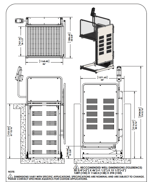 Specifications for Glacier Battery-Powered ADA Compliant Platform Pool Lift by Spectrum Aquatics | Wheelchair Liberty