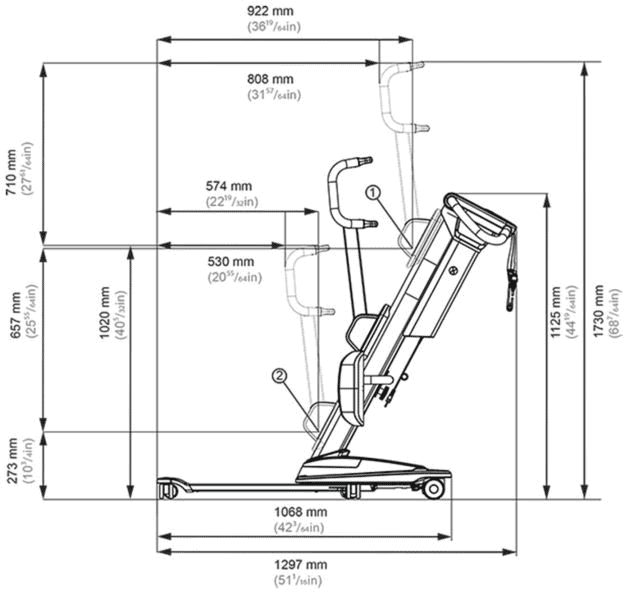 Illustration - Molift Quick Raiser 205 Sit-to-Stand Patient Lift N29000 by ETAC | Wheelchair Liberty