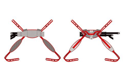 Illustration Of Back And Front View - Molift RgoSling Toilet LowBack Padded - Patient Sling for Molift Lifts by ETAC | Wheelchair LIberty