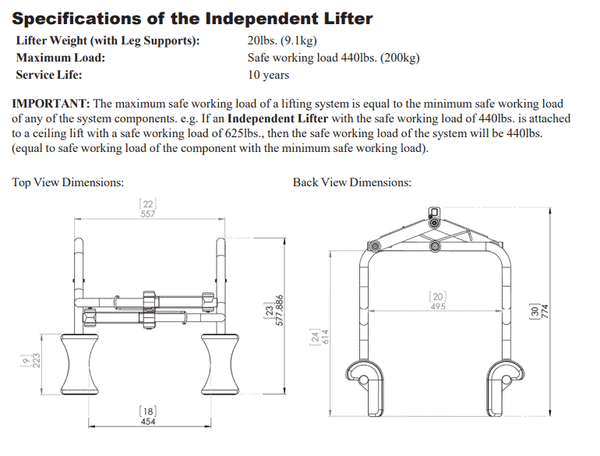 Independent Lifter Specifications - Independent Lifter Specialty Slings By Handicare | Wheelchair Liberty