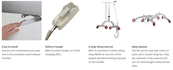 Molift Air 205 and 300 Patient Ceiling Lift - Features