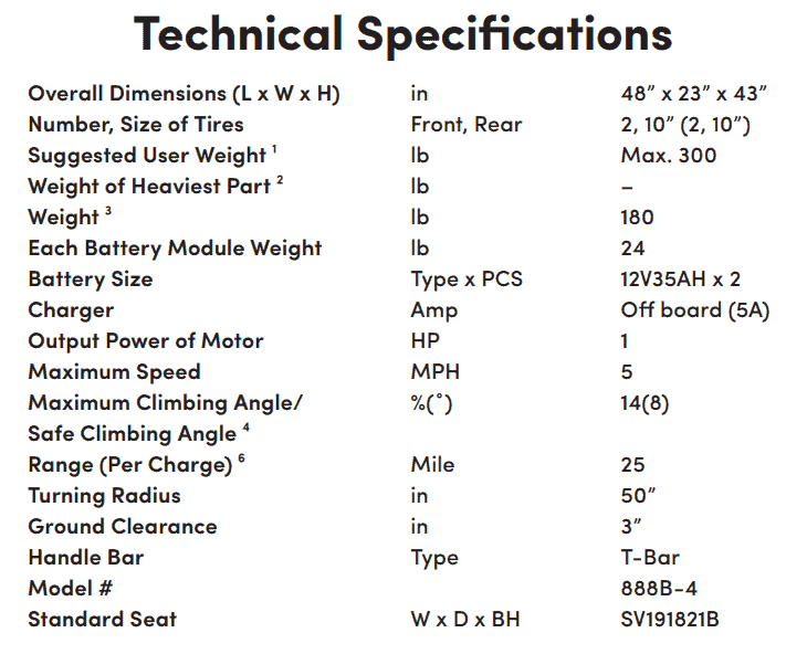 Specifications for Sunrunner 4 4-Wheel Electric Scooter by Shoprider | Wheelchair Liberty