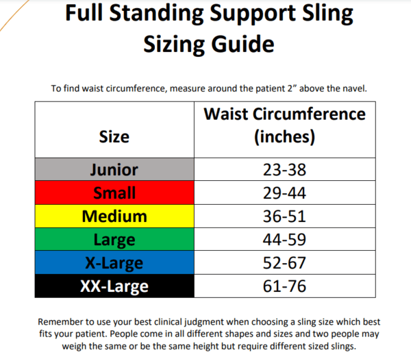 Sizing Chart - Full Standing Support Disposable Sling By Handicare | Wheelchair Liberty