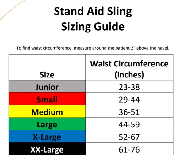 Sizing Guide - Stand-Aid Sit-to-Stand Slings By Handicare | Wheelchair Liberty