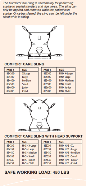 Sling Sizing - ComfortCare Sling Specialty Slings By Handicare | Wheelchair Liberty
