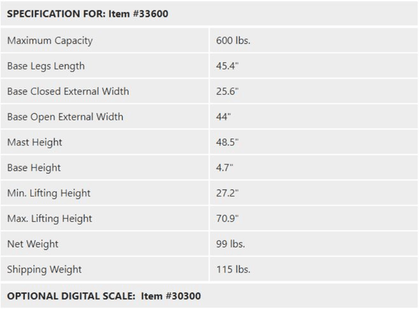 Specifications - Protekt® 600 Lift - Electric Hydraulic Powered Patient Lift 600 lb by Proactive Medical | Wheelchair Liberty