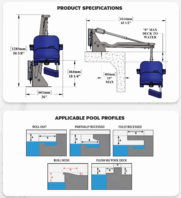 Specifications for Aqua Creek Admiral Electric Pool Lift - ADA Compliant | Wheelchair Liberty
