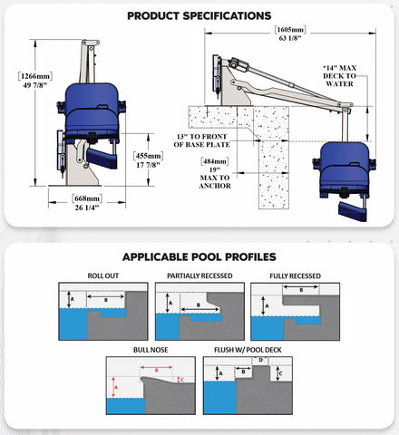 Specifications for Ranger 2 Pool Lift by Aqua Creek