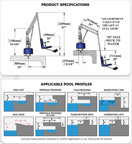 Specifications for Scout 2 Pool Lift by Aqua Creek