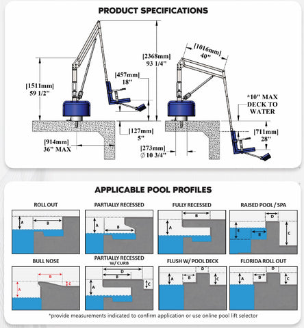 Specifications for Revolution Powered Pool Lift by Aqua Creek