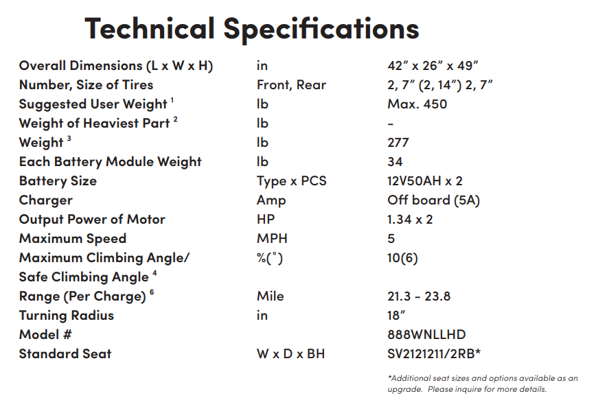 Specifications for 6Runner 14 Power Wheelchair by Shoprider | Wheelchair Liberty