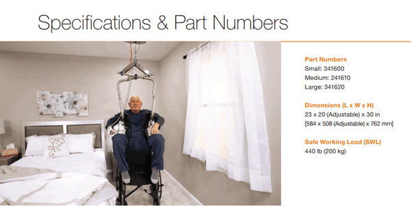 Specifications And Part Numbers - Independent Lifter Specialty Slings By Handicare | Wheelchair Liberty