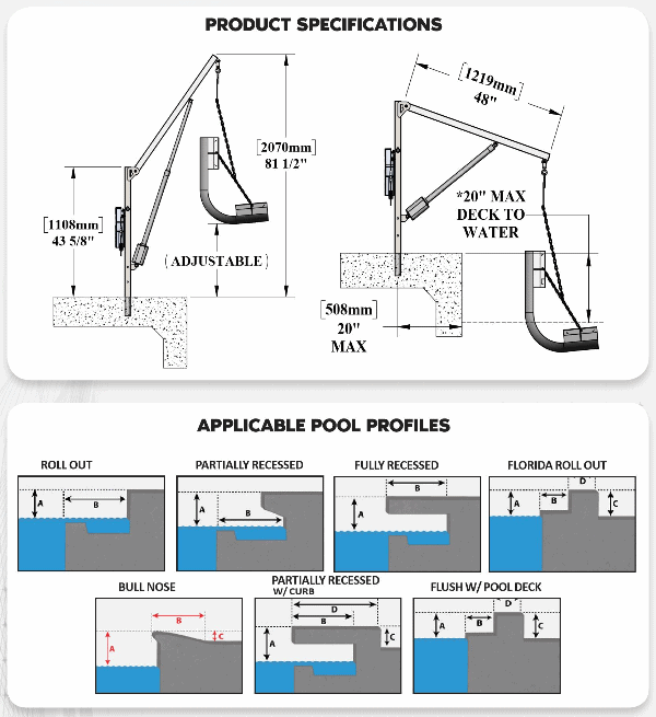 Specifications for Power EZ 2 Electric Pool Lift by Aqua Creek | Wheelchair Liberty