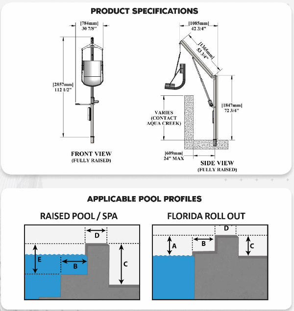 Specifications for Super Power EZ Above-Ground Pool lift by Aqua Creek | Wheelchair Liberty