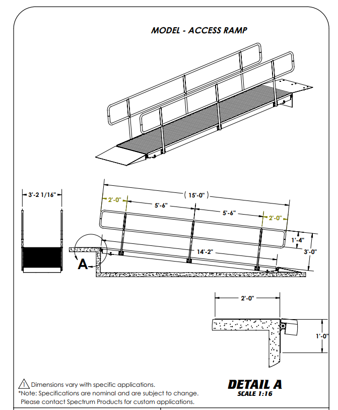 Specifications for Kalispell Stainless Steel Pool Access Ramp by Spectrum Aquatics
