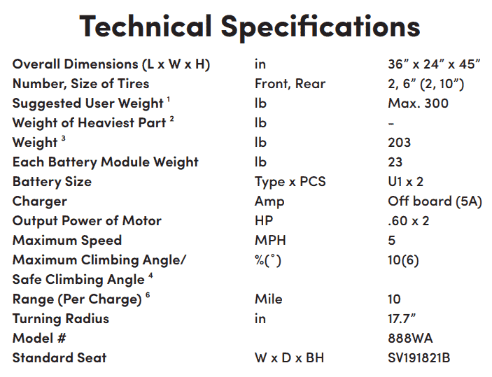 Specifications for Streamer Sport Rear-Wheel-Drive Power Wheelchair by Shoprider | Wheelchair Liberty