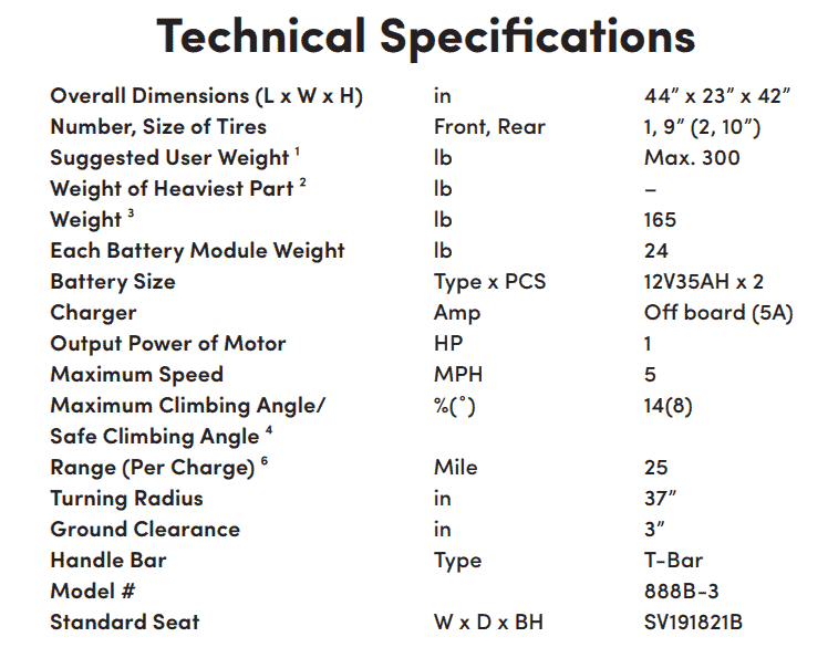 Specifications for Sunrunner 3 3-Wheel Electric Scooter by Shoprider | Wheelchair Liberty