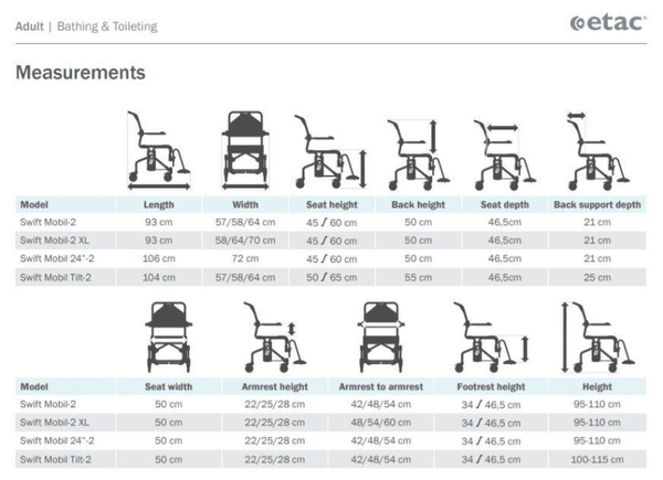 Swift Mobil-2 Shower Commode Chair - Measurements