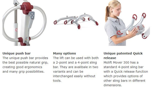 Features for Molift Mover 205 Patient Lift by ETAC from Wheelchair Liberty