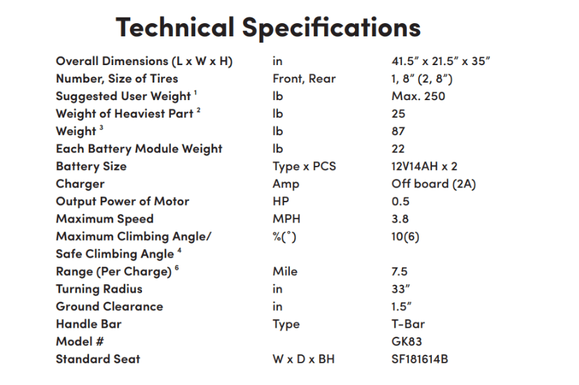 Specifications for Dasher 3 3-Wheel Electric Scooter by Shoprider | Wheelchair Liberty