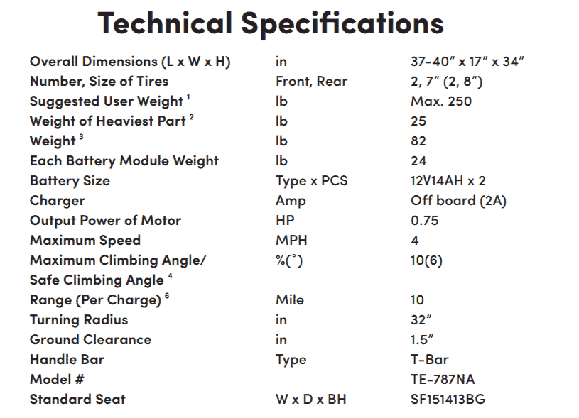 Specifications for Scootie 4-Wheel Electric Scooter by Shoprider | Wheelchair Liberty