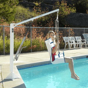 Woman Lifted to the Pool using EZ 2 Manual Pool Lift by Aqua Creek | Wheelchair Liberty