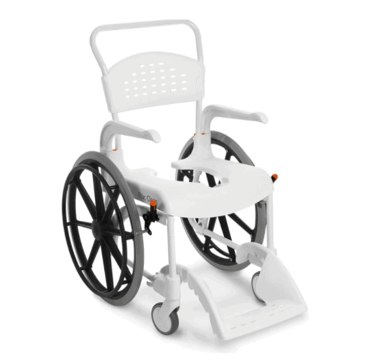 CLEAN Self-Propelled Shower Commode Chair with 24 Rear Wheels-White