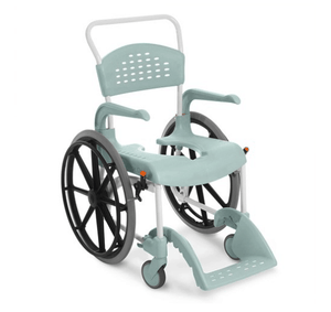 CLEAN Self-Propelled Shower Commode Chair with 24 Inch Rear Wheels Lagoon Green