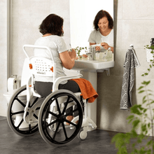 CLEAN Self-Propelled Shower with 24 Inch Rear Wheels - Lady In Bathroom