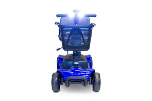 EW-M34 Travel Electric Scooter - Front View With Headlights On - Blue
