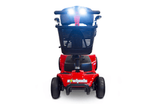 EW-M34 Travel Electric Scooter - Front View With Headlights On - Red