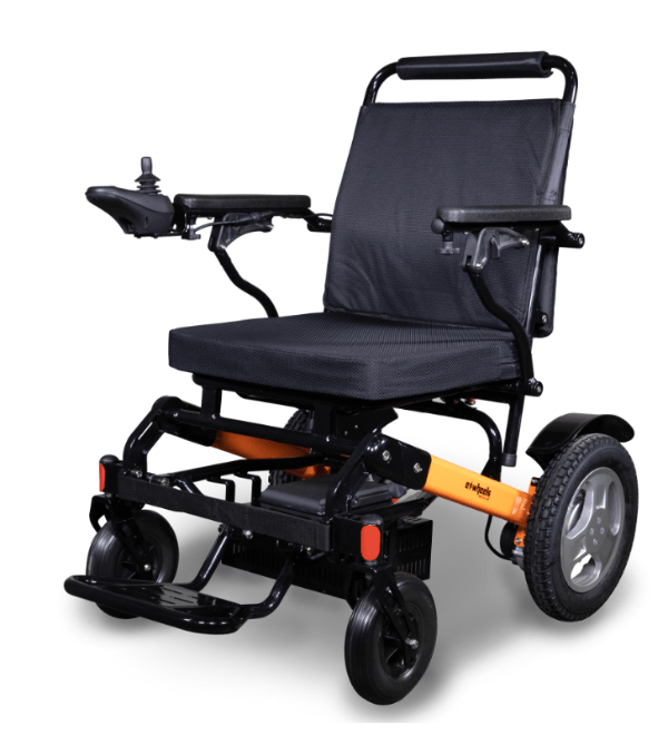 EW-M45 Folding Power Wheelchair Left Side Black-Orange